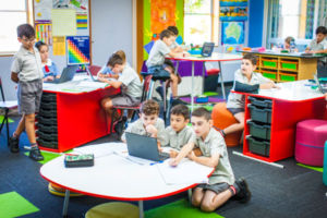 Students working together in various ways inside a modern classroom